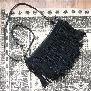 NANO black suede fringe crossbody